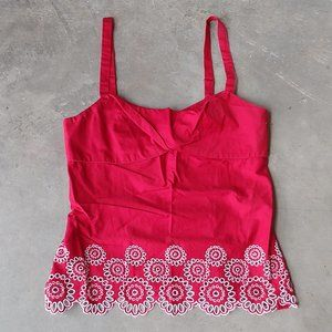 LOFT Red Eyelet Embroidered Trim Tank Top 8P